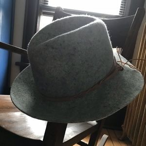 Gray felt festival hat with brown leather tie